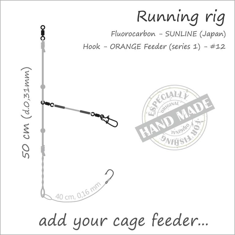 Orange Feeder Rig Running (uten feeder kurv) Feeder Rigger