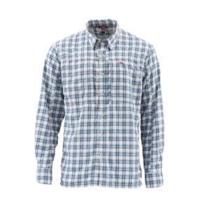 Simms BugStopper Shirt Plaid Faded Denim Plaid Bugstopper